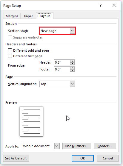 page setup in word