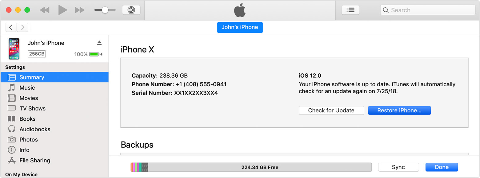 update ios with itunes