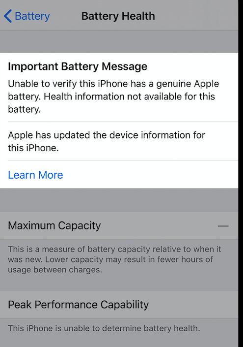 battery health warning message