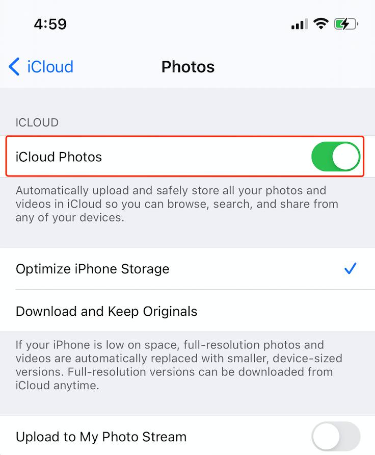 turn off icloud photos