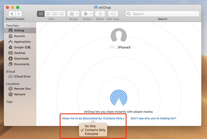 change airdrop settings on mac