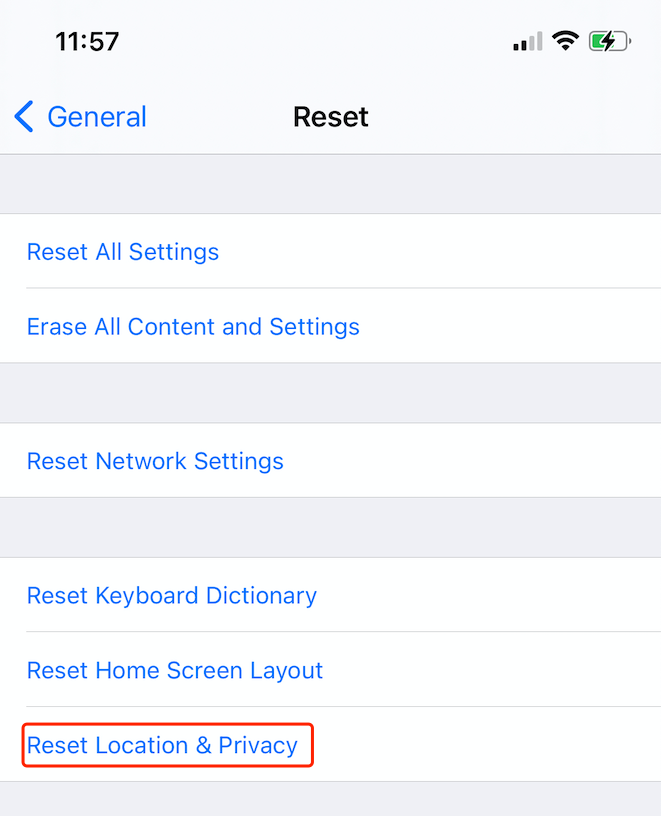 reset location and privacy to fix imessage activation issue