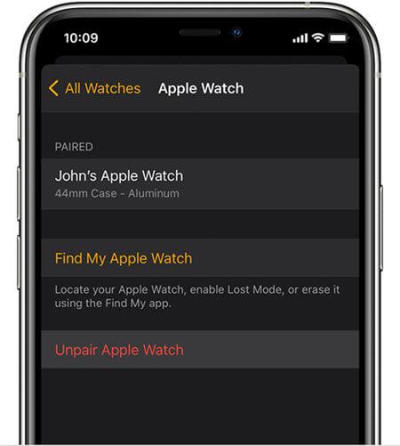 ios 14 unpair apple watch iphone