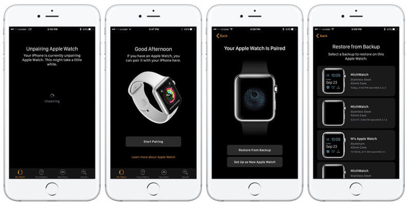 restore apple watch from icloud backup