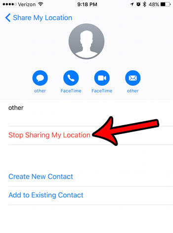 iphone message stop sharing my location