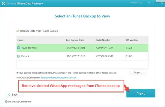 restore whatsapp from itunes