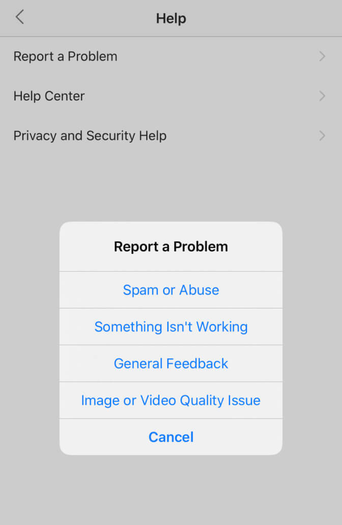 report the not refreshing feed issue to instagram