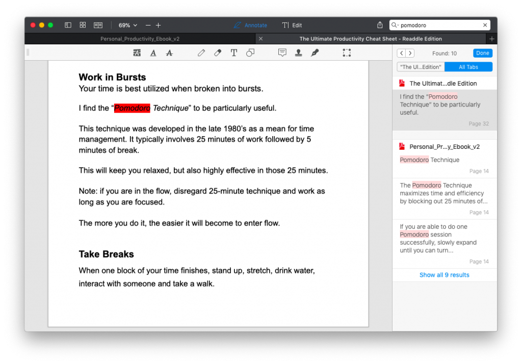 search words or phrases in pdf expert