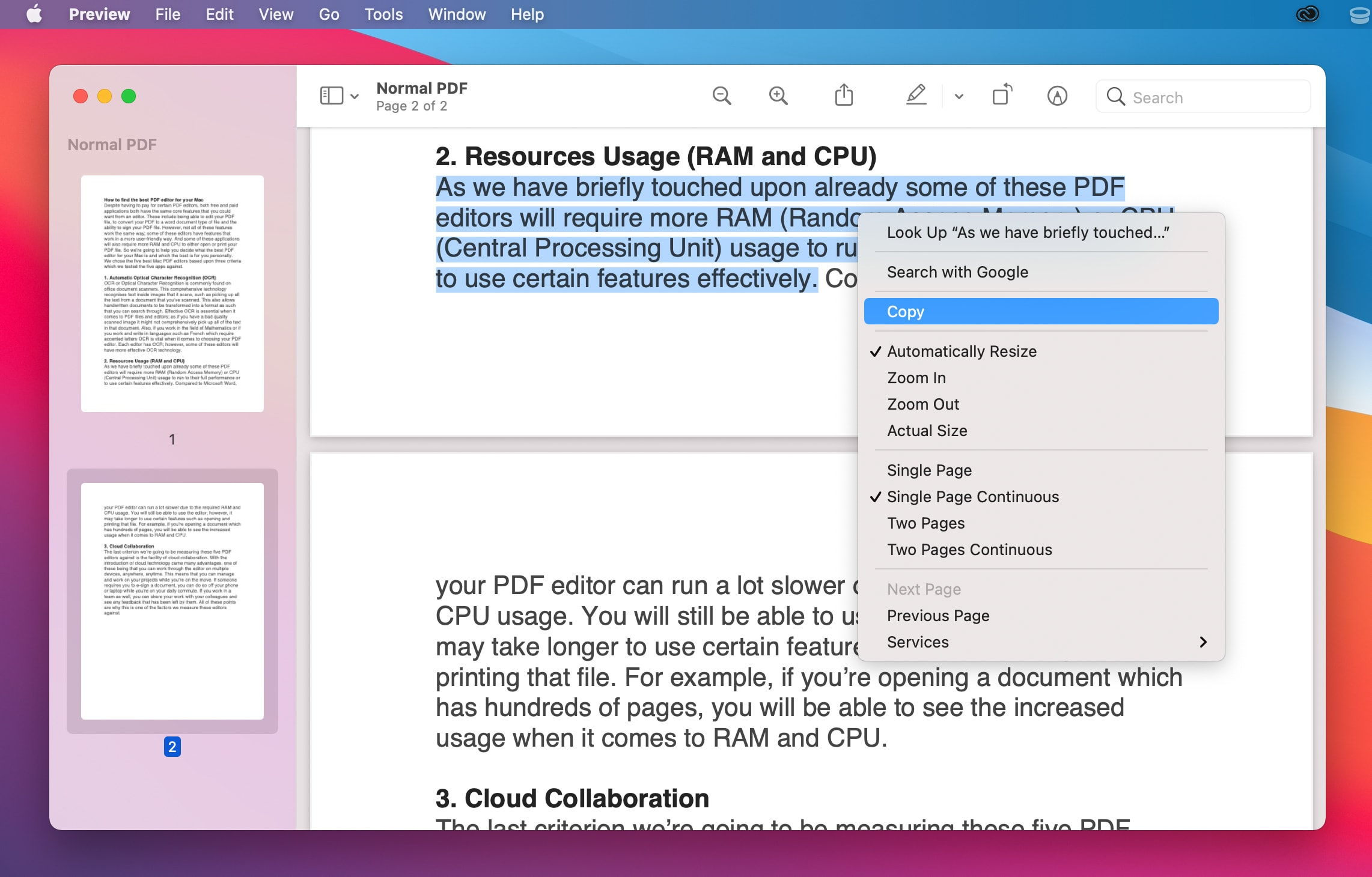 copy text from pdf to word on mac preview