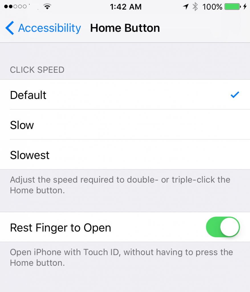 reset finger to open option