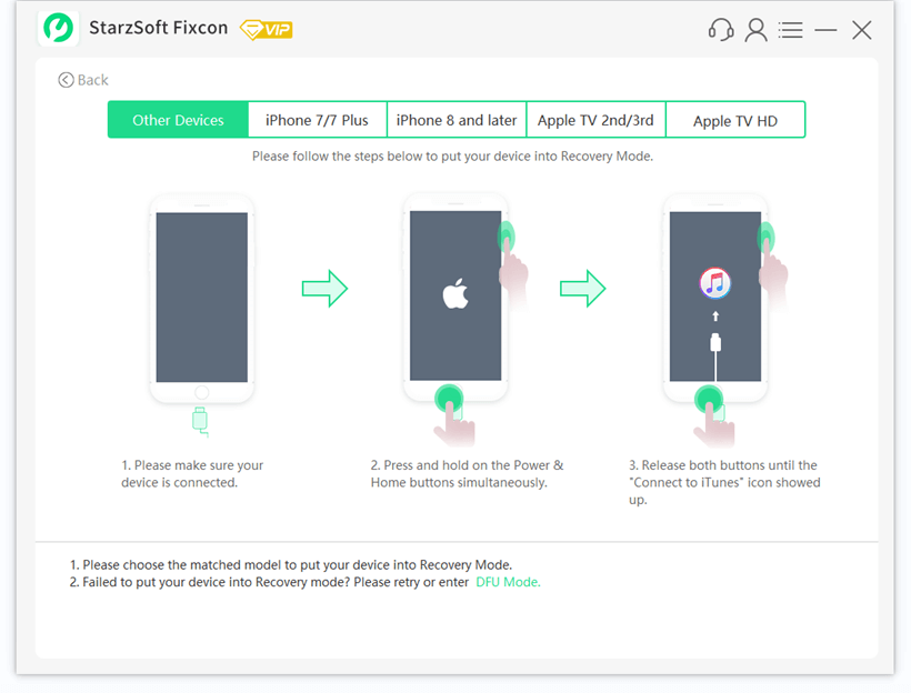 fixcon recovery mode instruction